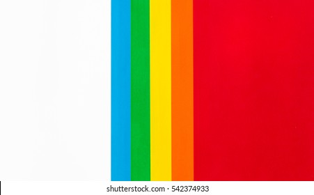 Colourful paper isolated on white background with copy space