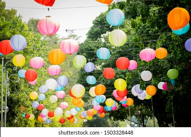 Colourful Paper Lantern hanging with trees and sky in the background.