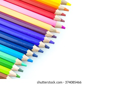 Colourful pencil colour  with white background
