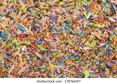 Colourful pencil shavings background.