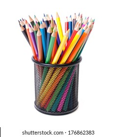 Colourful pencils in container
