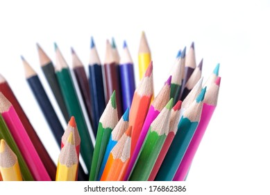 Colourful pencils untidy