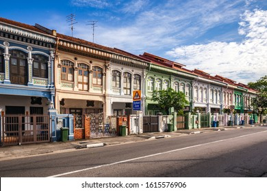 Colourful Peranakan Houses. The word Peranakan used by the local people to address foreign immigrants whom established families in Singapore, Singapore.