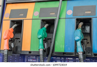 Colourful petrol pump in gas station. Gas station in a service.