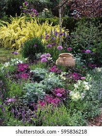 Colourful Pink border with pottery urn