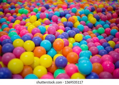 Colourful plastic balls in a children's attraction.