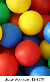 Colourful plastic balls, as used in children's play equipment