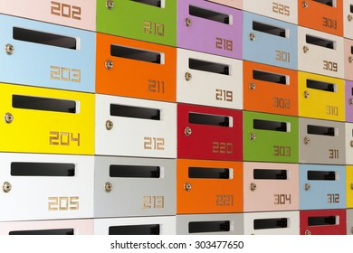 Colourful  post boxes.