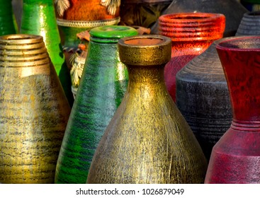 Colourful pottery made flower pots showpiece isolated object stock photograph