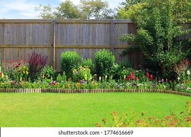 Colourful Pretty Flower And Shrub Border Surrounded By A Fence And A Green Lawn In A Home Back Garden.
