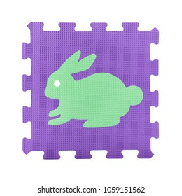 Colourful rabbit puzzle. Animal puzzle piece isolated on white background. Animal learning block for children education.