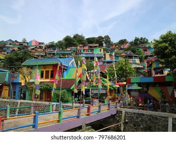 The colourful or 'rainbow' village (Kampung Pelangi) in Semarang, Central Java, Indonesia. It was slum area before.  Pic was taken in January 2018.