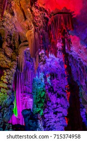 Colourful Reed flute cave in Guilin, China.