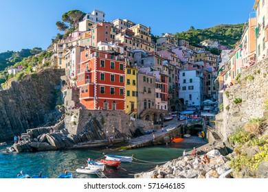 Colourful Riomaggiore in National park Cinque Terre, Liguria, Italy