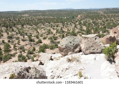 Colourful rock formations at The Bandelier National Monument, part of the Tsankawi Prehistoric Site, New Mexico, USA