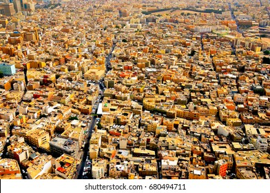 Colourful rooftops and city traffic in the heart of the Bahrain capital, Manama