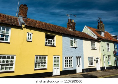 Colourful row of buildings near the Suffolk coast in Southwold