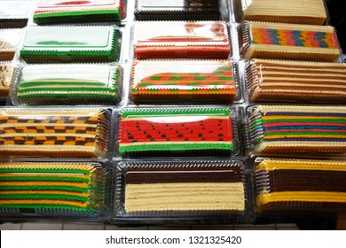 "Colourful Sarawak layered cake also known as ""Kek Lapis"" selling in store. Similar cake in Indonesia also known as Kek Lapis Legit or Legit Layerd Cake"