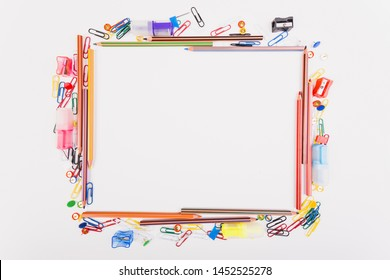 Colourful school stationery top view
