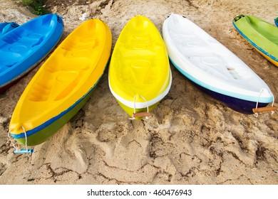 Colourful sea kayaks on the beach.Thailand