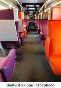 Colourful seats in high speed train