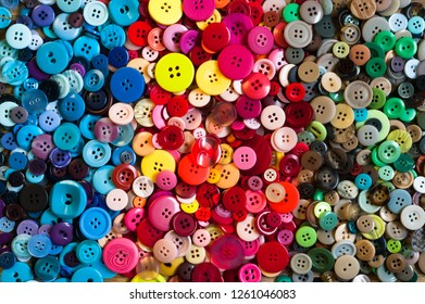 Colourful sewing buttons background
