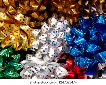 colourful shiny decoration bunch of bows