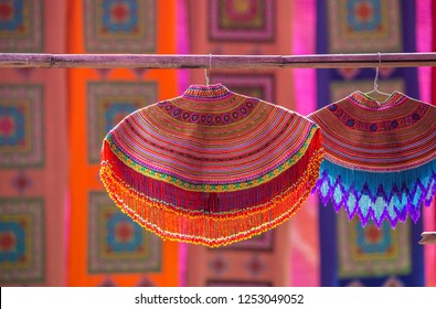 Colourful shoulder piece of Flower Hmong, a hill tribe from North Vietnam.