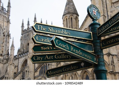 The colourful signposts in York City Centre point the way to many tourist attractions including the Shambles