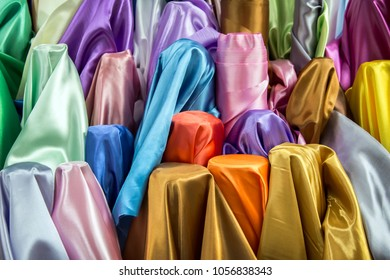 colourful silk fabric texture for raw mate to make fashion dress. Grossy fabric in favric shop for background