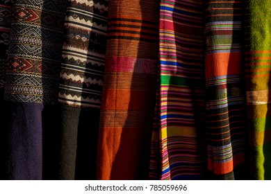 Colourful silk with light in the evening
