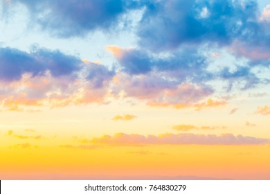 Colourful sky fluffy cloud cozy twilight sunset, Landscape of nature background