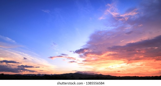 Colourful sky mountain sunset background