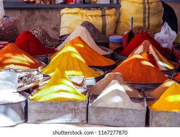 Colourful spice in Moroccan market