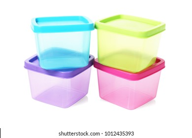 Colourful Square Plastic Containers on White Background