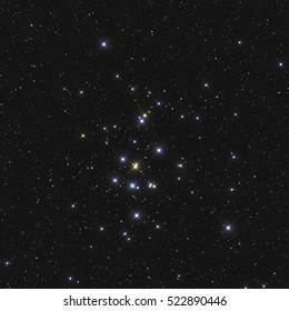 Colourful star cluster with glare and spikes and colour boost of a beautiful named Messier 44 or M44 or NGC 2632 or Beehive Cluster in the constellation Cancer in the Northern sky