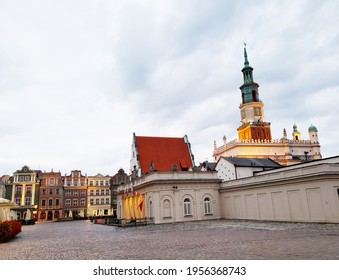 Colourful streets and buildings in Poznan Poland Europe