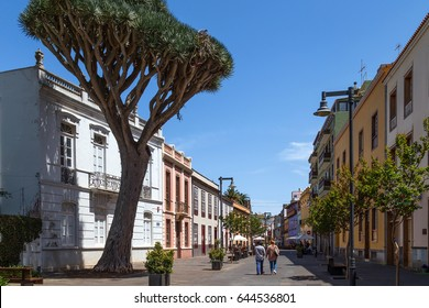 Colourful streets of San Cristobal de La Laguna, a city in the Province of Santa Cruz de Tenerife, on the Canary Islands. Popular tourist destination and attraction