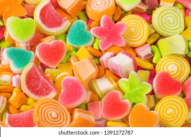 Colourful sugary candy, Assort various sweet candies  background