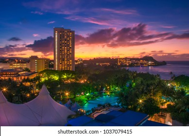 A colourful sunset over Guam