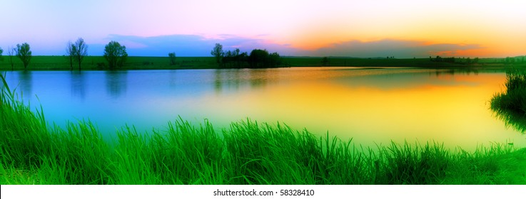 Colourful sunset over the lake