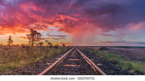 Colourful Sunset over Railroad
