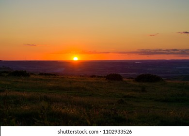 Colourful Sunset View from Ventnor Downs on the Isle of Wight, UK.