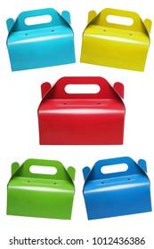 Colourful Takeaway Cake Boxes on White Backgound