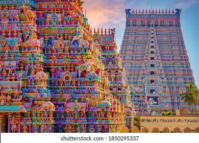 Colourful Temple Gopurams in Srirangam, Trichy town of tamilnadu in india