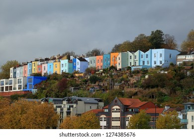 Colourful terraced houses overlooking Bristol Harbour.