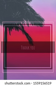 A colourful thank you card template design with a palm tree silhouette & colour gradient overlay effect.
