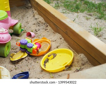 Colourful toys for children in the sandbox