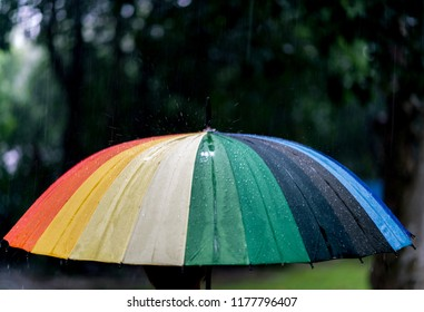 Colourful umbrella under rain, Rain On rainbow Umbrella