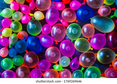 Colourful variety of water filled balloons